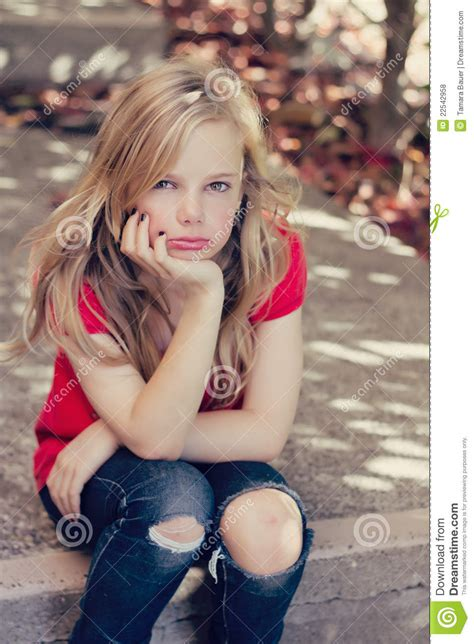 sad young girl stock photo image  lonely depression