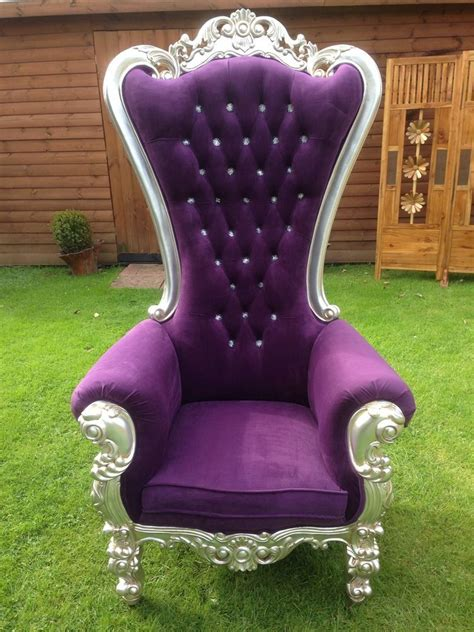 beautiful french style silver leaf purple throne chair