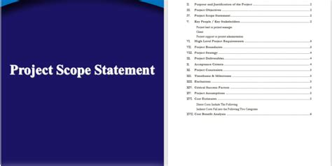 project scope statement template word templates
