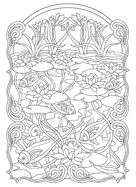 Coloring For Adults by Animals Coloring Pages For Adults Coloring Fish Pond