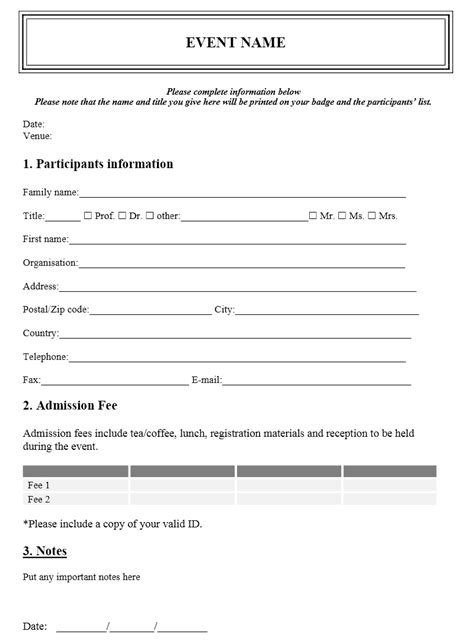 registration template event registration form template