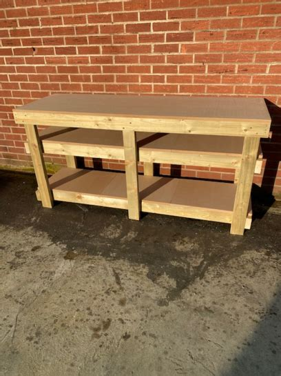 ft mdf top workbench   shelves castors heavy