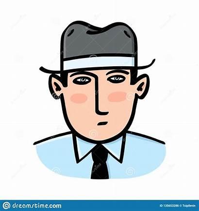 Serious Hat Wearing Talking Smiling Drawing Fedora