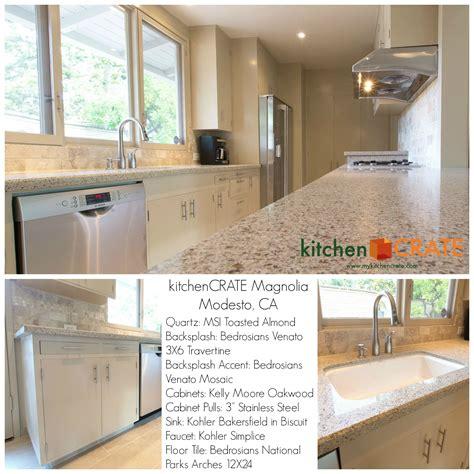 california kitchen cabinets toasted almond quartz 3x6 travertine backsplash and 1955