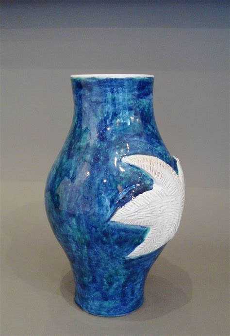blue and white ceramic vase large blue and white ceramic vase by the cloutier brothers