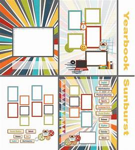 Photo book template yearbook sunburst quick album for Yearbook template powerpoint