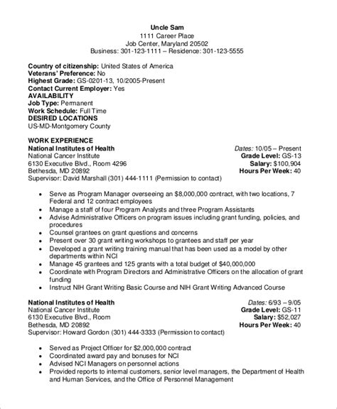 Government Resume Template by Sle Federal Resume 8 Exles In Word Pdf