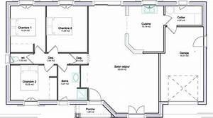 Maison 120m2 Plain Pied : plan de maison plain pied gratuit 3 chambres plans maisons 120m2 cosmeticuprise ~ Melissatoandfro.com Idées de Décoration
