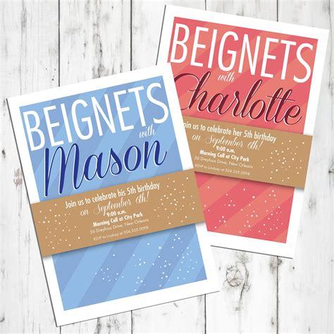 Beignet Birthday Invitation Personalized Printable