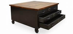 Table Basse Industrielle Avec Tiroir : table basse industrielle avec tiroirs ~ Teatrodelosmanantiales.com Idées de Décoration