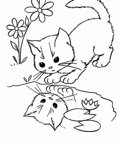 Coloring Cat Pages Cats Face Printable Easy