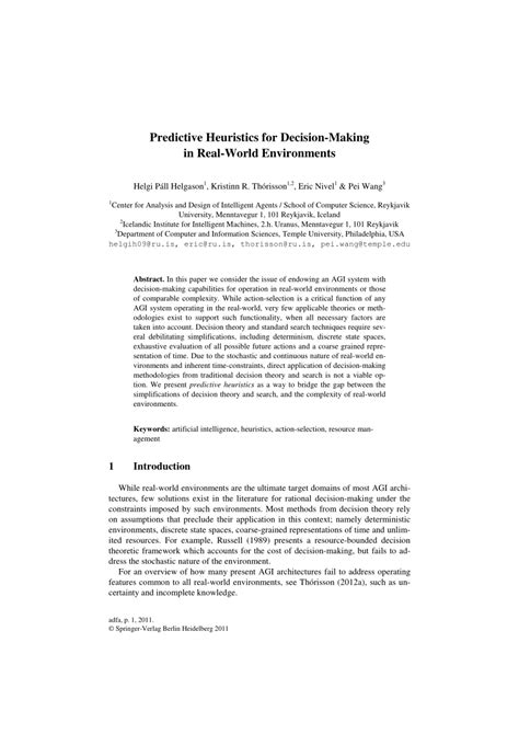 (PDF) Predictive Heuristics for Decision-Making in Real