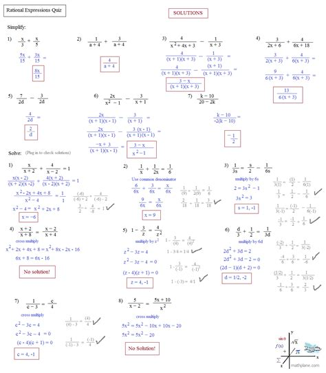 math plane simplifying rational expressions