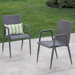 Noble, House, Ailani, Grey, Stationary, Wicker, Outdoor, Dining, Chair, 2-pack, -304141