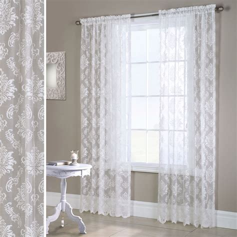 Lace Drapery Panels by Elora White Heavyweight Lace Window Treatment