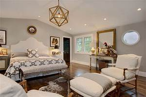 Gold Accent Wall Bedroom Transitional With Sitting Area