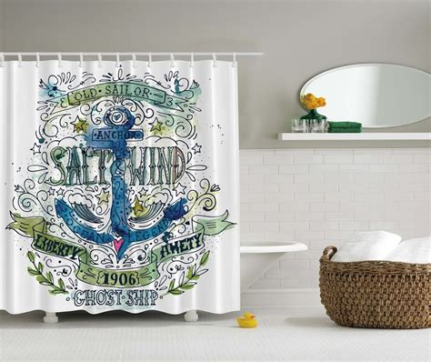 anchor beach graphic shower curtain chain ship  sailor