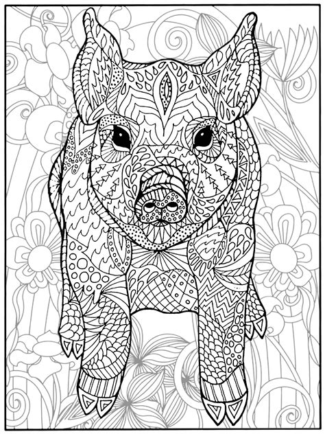 pig  flowers pigs adult coloring pages