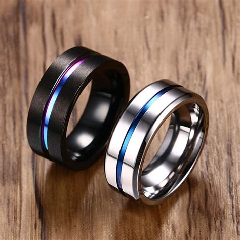 8mm black titanium ring for wedding bands trendy rainbow groove rings jewelry usa size