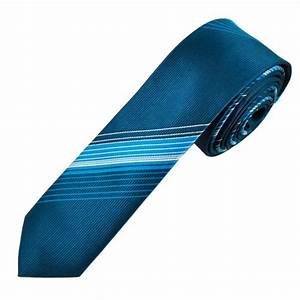 Navy, Blue & White Striped Skinny Tie from Ties Planet UK