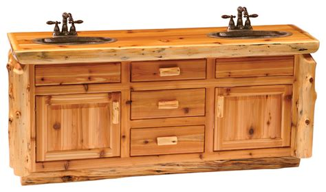 Cedar Vanity With Slab Style Top, Double Sink With Drawers
