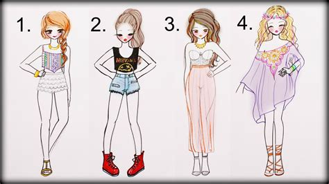 Drawing Tutorial - How to draw 4 Summer Outfits - YouTube