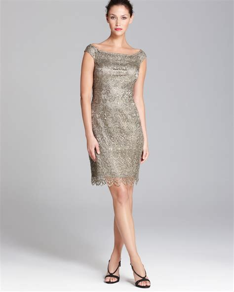 lyst kay unger sequin lace dress boat neck  gray