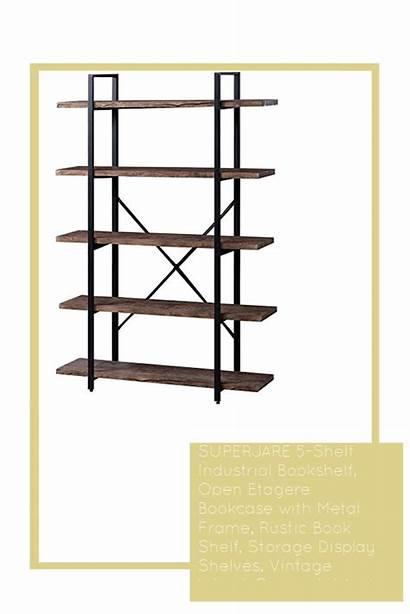 Rustic Shelf Metal Wood Bookshelf Bookcase Etagere