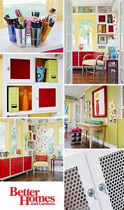 Una oficina en casa llena de color