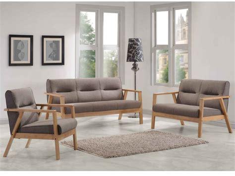 canape en bois et tissu canapés et fauteuil umea en bois et tissu taupe chiné