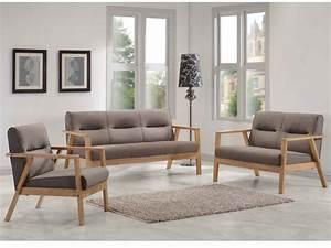 Fauteuil Et Canapé : canap s et fauteuil umea en bois et tissu taupe chin ~ Teatrodelosmanantiales.com Idées de Décoration