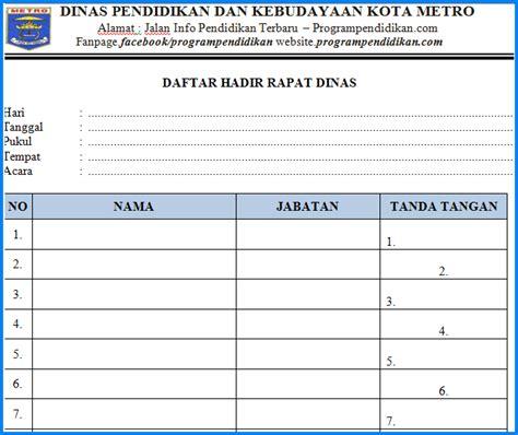 Buat Notulen Rapat by Daftar Hadir Rapat Dinas Terbaru 2018 Progrendidikan