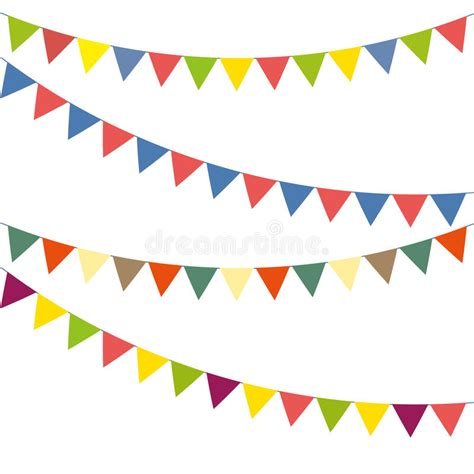 bunting flag banner to be bunting colorful set stock vector illustration of element