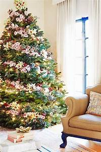 Pretty Christmas Tree With Floral Ornaments Decor Advisor