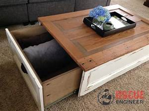 Diy coffee table with storage free plans rogue engineer for Coffee table with drawers and shelf