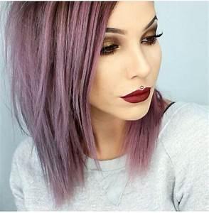 Grey Purple Hair Long Bob Dramatic Makeup Smokey Eye