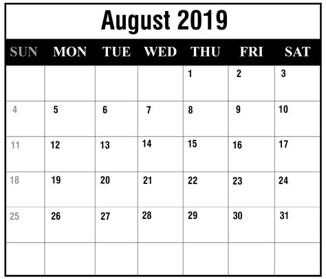 printable august calendar monthly template