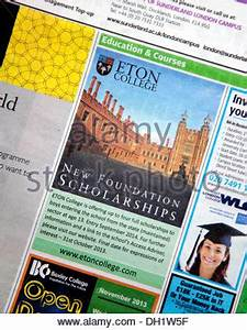 Newspaper advert for Eton College scholarships for state ...