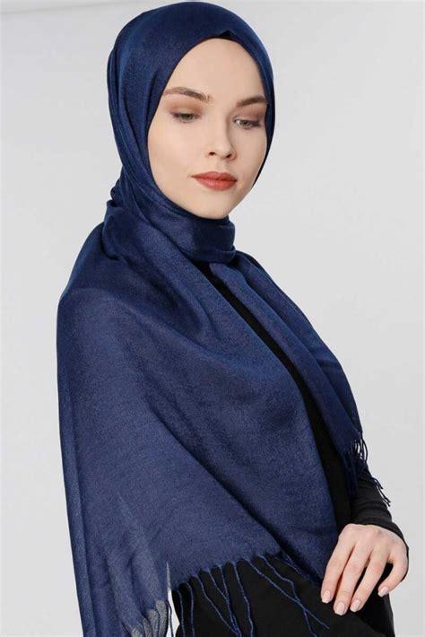 aysel navy blue pashmina hijab guelsoy hijab