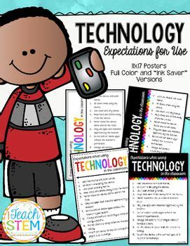 technology  classroom expectations rules  posters