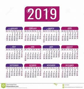 Calendário 2019 Anos Molde Do Vetor Começos Da Semana Em