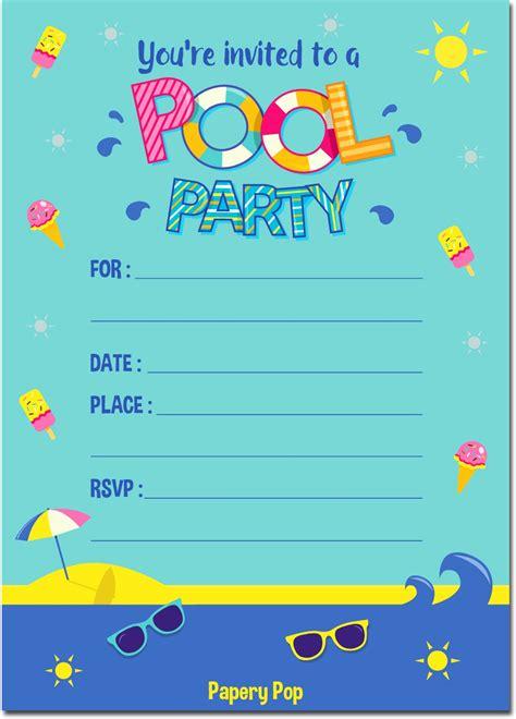 pool party invitations  envelopes kids birthday