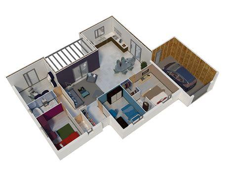 plan maison ossature bois toit plat