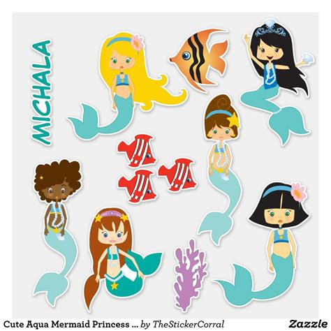 aqua mermaid princess contour sticker zazzle