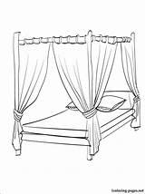 Coloring Bed Pages Canopy Para Bedroom Cama Drawing Colorir Colouring Printable Furniture Dossel Getdrawings Desenhos Getcolorings Imprimir Bedtime sketch template