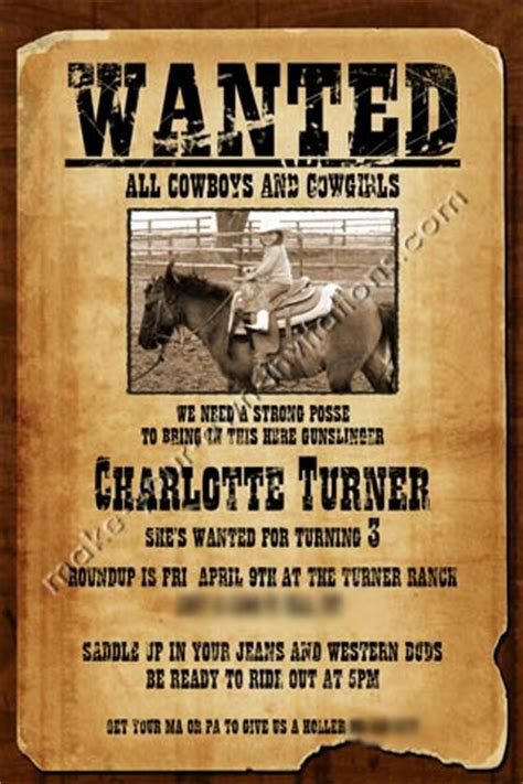 western invitations  samples   wanted poster invite