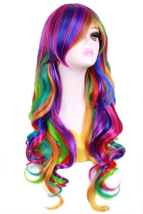 70cm Rainbow Multi Color Wig Lolita Long Big Wavy Curly
