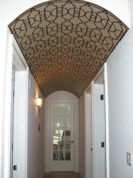 looking the barrel stenciled ceiling paint pattern