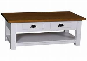 Table Basse Avec Tiroir : acheter votre table basse en pin massif bicolore avec tiroir chez simeuble ~ Teatrodelosmanantiales.com Idées de Décoration