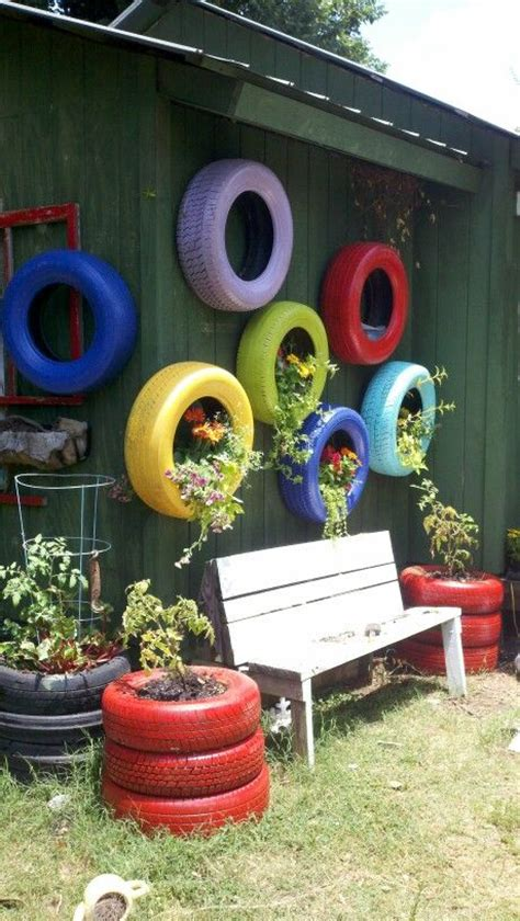 painted tires  flower pots garden tire garden